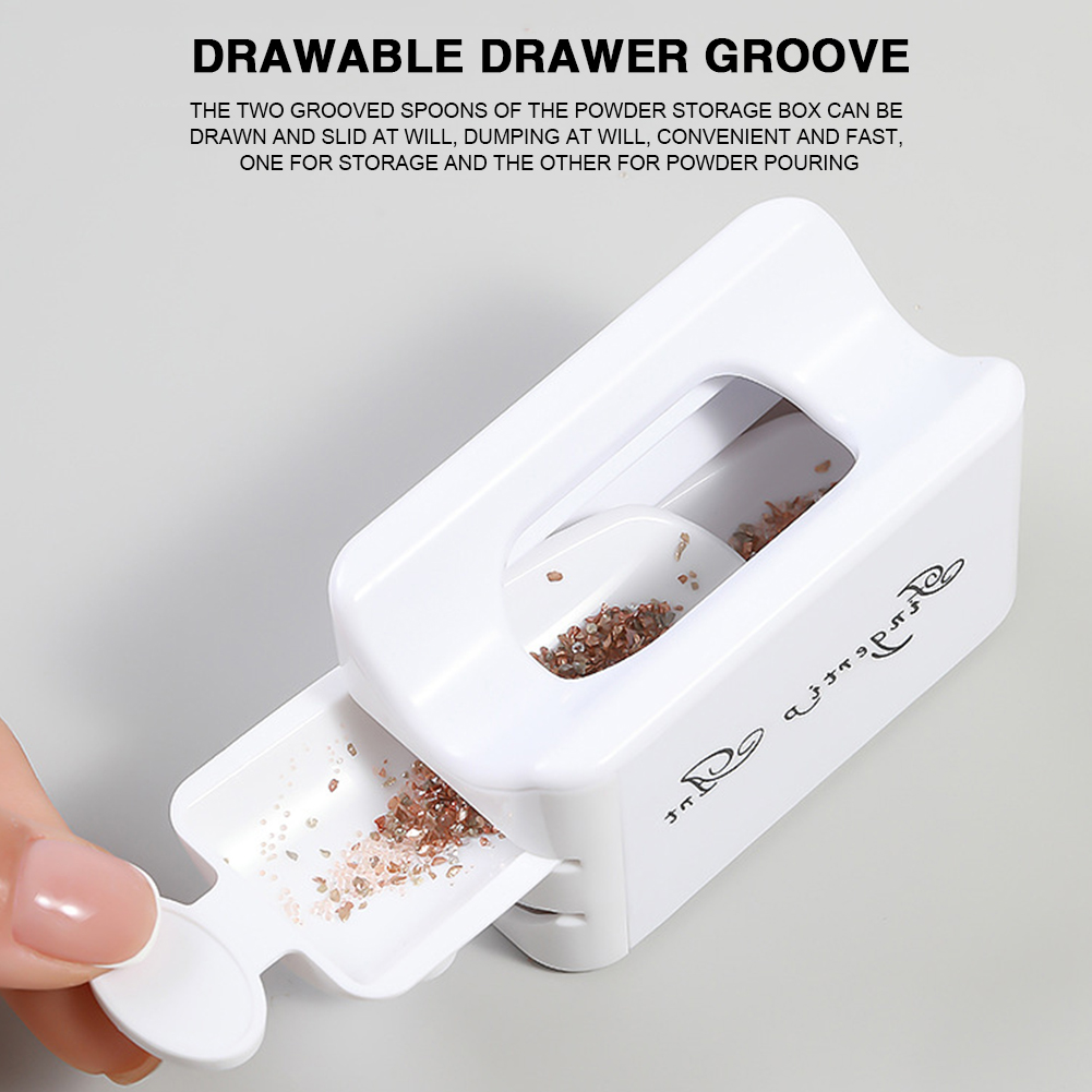 Double Layer French Powder Box Recycled Nail Powder Storage Box Portable Infiltration Powder Container Nail Tool