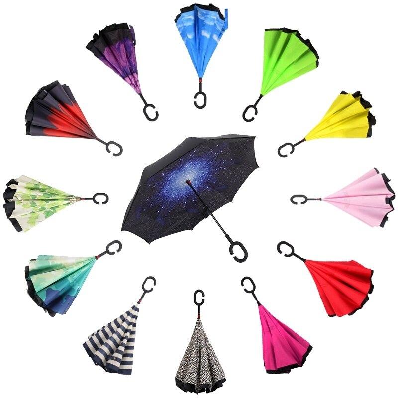 C-lidar com Guarda-chuva de Camada Dupla Mulheres sun parasol Chuva parapluie guarda chuva paraguas invertido Reverso Chuvas masculino À Prova de Vento