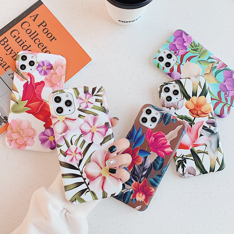 Luxury Flowers Silicone Soft Case For Iphone 11 Pro Xs Max X Xr Matte IMD Full Cover