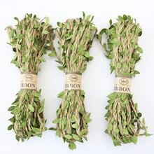 10 m/lote hoja verde artificial Cordón de Yute Natural cuerda de arpillera DIY artesanía Vintage para decoración de fiesta de boda en casa
