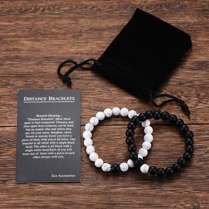 Couples Beaded-Bracelets Classic Natural-Stone Yin-Yang Black White Best-Friend Women