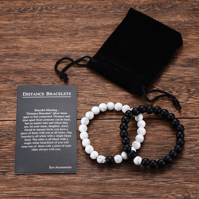 2Pcs/Set Couples Distance Bracelet Classic Natural Stone White and Black Yin Yang Beaded Bracelets for Men Women Best Friend Hot(China)