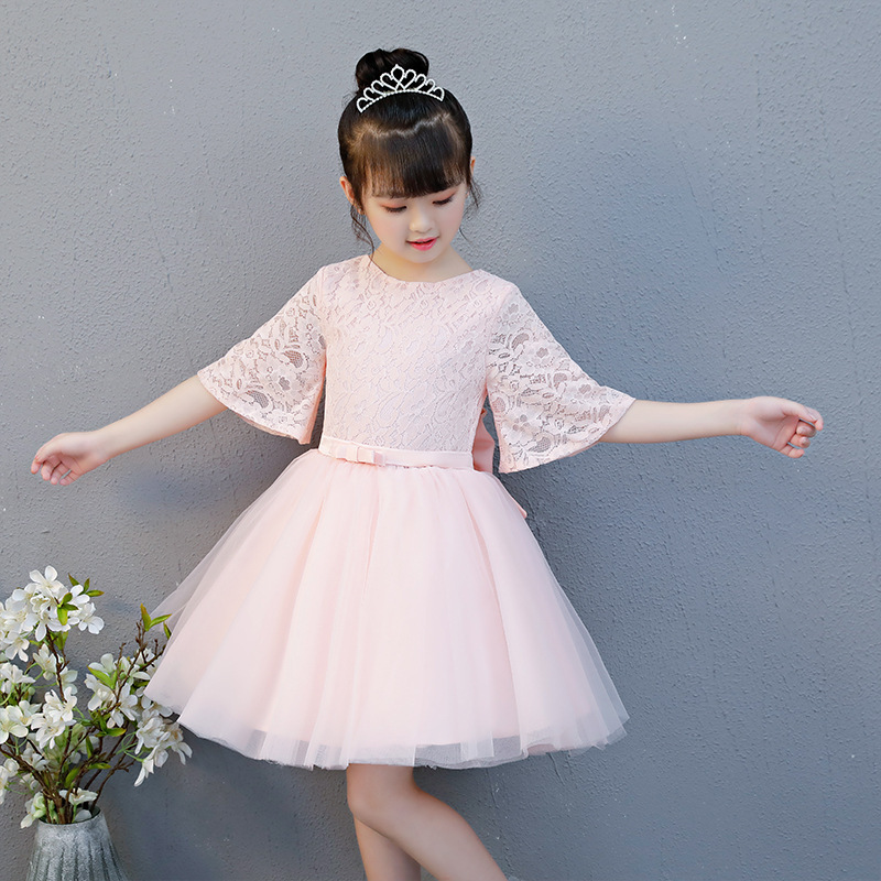 Princess Dress Girls Bell Sleeve Children Wedding Dress Tutu Dresses Of Bride Fellow Kids Female Pink Catwalks Host Costume