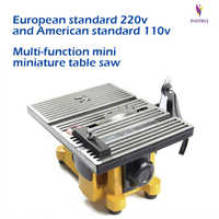Mini Sierra de mesa hecho a mano para carpintería, modelo DIY, herramienta de corte eléctrico de pulido, hoja de sierra Circular de aleación de aluminio de 110V/220V