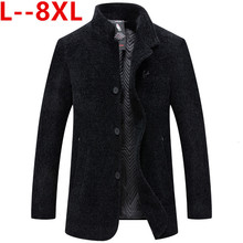 10XL 8XL 6XL Hooded Mens Thick Wool Trench Coat Men Long Casual Coats