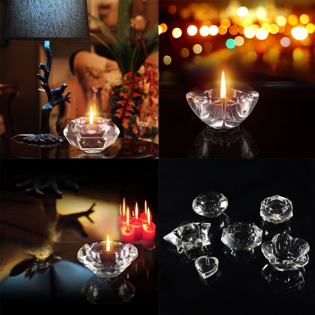 3Size Romantic Crystal Glass Cube Candle Holder Glass Stand Tealight Decor