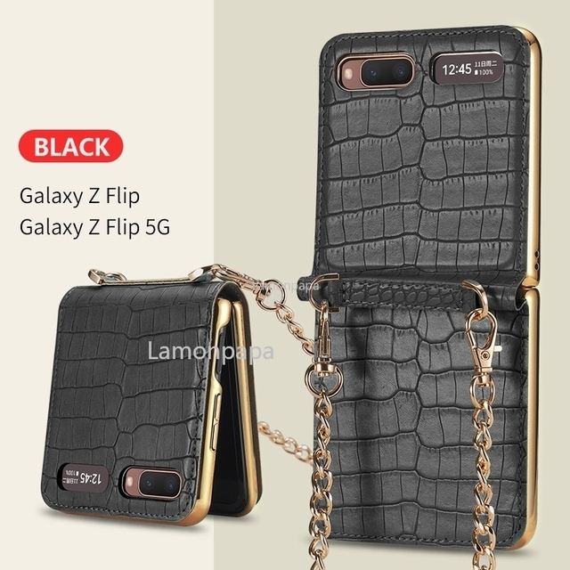 Luxury Case for Samsung Z Flip 5G Magnetic Mirror Fold Phone Case with Chain Strap Shockproof Cover for Samsung Z Flip Case 4