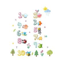 Creative Animal Number Cartoon Wall Sticker Toys Children Room Kindergarten Classroom Layout Early Education Self-adhesive Paper(China)