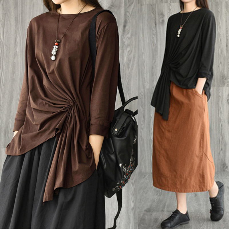 Women's Asymmetrical Blouse 2020 ZANZEA Kaftan Pleated Tops Casual Long Sleeve Tee Shirts Female Solid Blusas Oversized Tunic 7