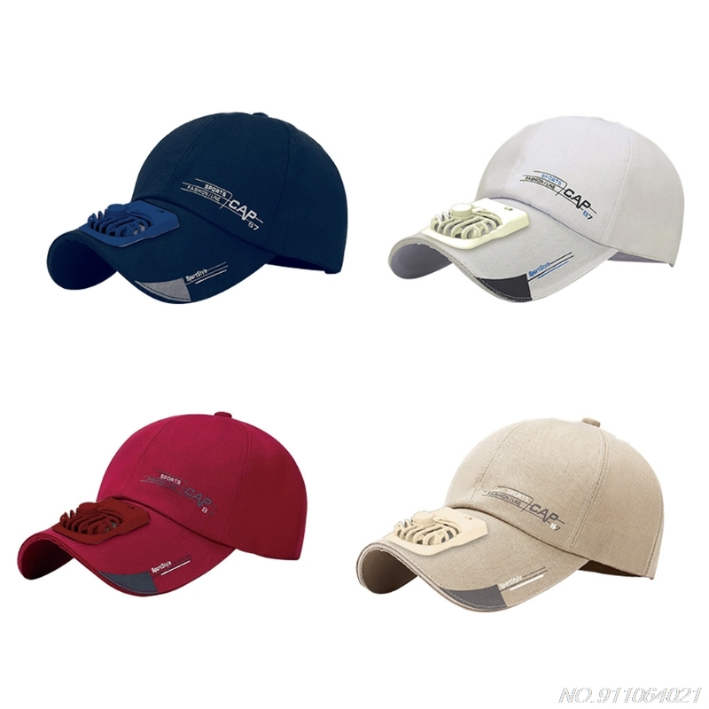 Unisex USB Charging Cooling Fan Baseball Cap Outdoor Golf Sunscreen Letters Printed 2 Speed Adjustable Peaked Hat Wholesales