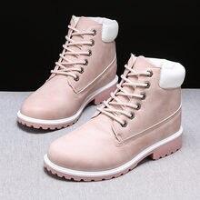 Осень зима 2020 женские ботинки из искусственной кожи на плоской