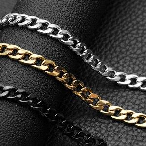 Цепочка Из Нержавеющей Стали 316l для мужчин и женщин, базовое панцирное ожерелье из кубинской цепи, винтажные цепочки-Чокеры черного и золот...