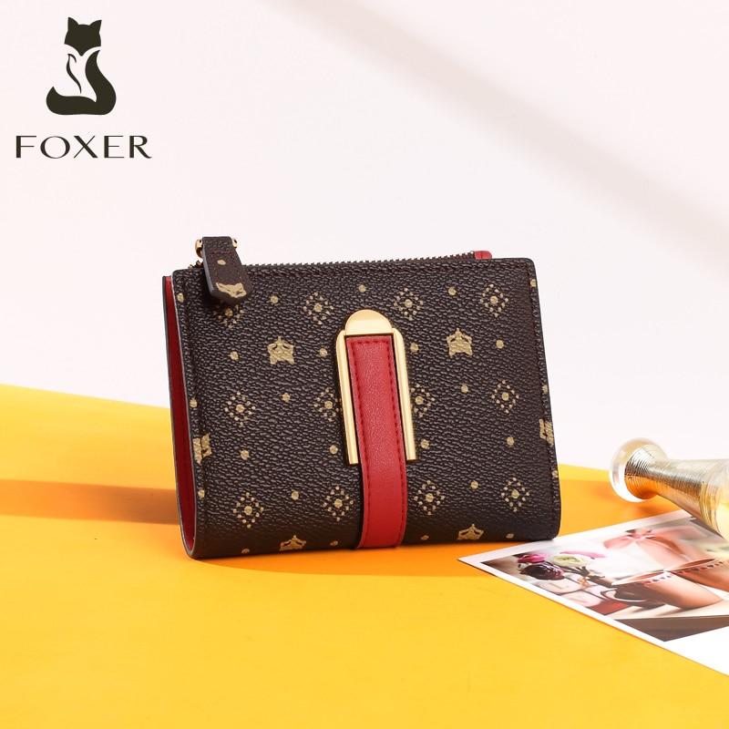 Bolsa de Dinheiro Titular do Cartão de Identificação Bolsa de Embreagem Foxer Retro Impressão Carteira Senhoras Chique Pvc Couro Feminina Pequena Bolsa Moda