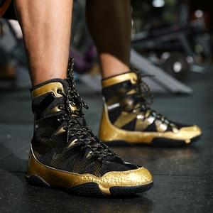 Новинка, профессиональная Боевая обувь, Мужская Золотая противоскользящая обувь, боксерские кроссовки, большой размер 39-47, дышащая удобная ...