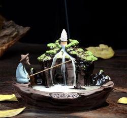 Chińska sztuka ceramiczna kadzidło z przepływem zwrotnym palnik kadzielnica Home Office piec Decor pachnące|Posągi i rzeźby|   -