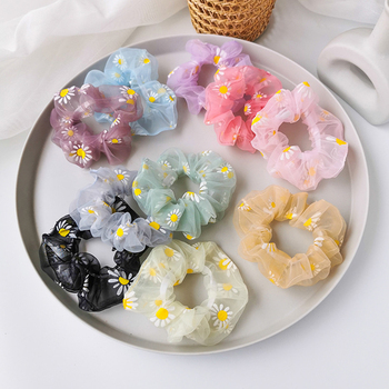 Daisy Organza Scrunchie Women Sweet Soft Hair Ties Korea Girls Elastic Hair Bands Headwear Hair Accessories Lovely Rubber Bands image