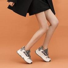 2021 nova plataforma feminina primavera chunky tênis, cinza marrom sapatos esportivos, conforto casual alta tênis mulher vulcanizar