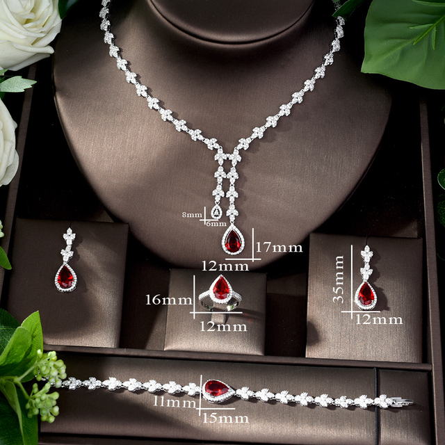 Jewelry Sets bfx0020 HIBRIDE 4pcs Bridal Zirconia Jewelry Sets for Women Party Luxury CZ Crystal Wedding Jewelry Sets