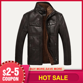 Men Faux Leather Jacket NEW Fashion Winter Tops Coat Fleece Lining Jacket Men High Quality PU Outerwear Men Classic Business 3XL