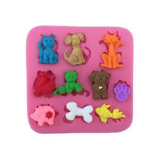 Cake Silicone Mold Cartoon Dieren Cats & Dogs & Bone Vorm Fondant Gebak Chocolade Mould Candy Ice Cube Mallen DIY bakken Tools(China)