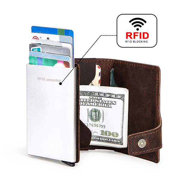 CONTACT'S Crazy Horse leather men wallet RFID Blocking credit card holder Aluminum box Automatic pop up Business Security Purse 3
