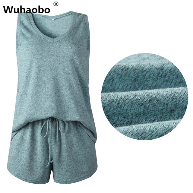Wuhaobo V Neck Knit Women Sets Sleeveless Sexy Top White And Short Suit Pants Loose Casual Summer Two Piece Set Outfit
