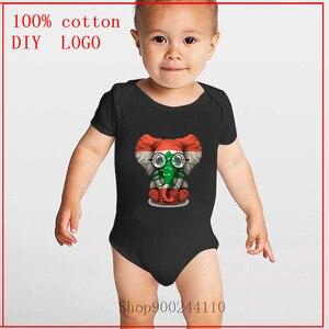 Bébé éléphant avec des lunettes et drapeau libanais liban imprimé bébé body nouveau-né infantile à manches courtes combinaison tenues Sunsuit