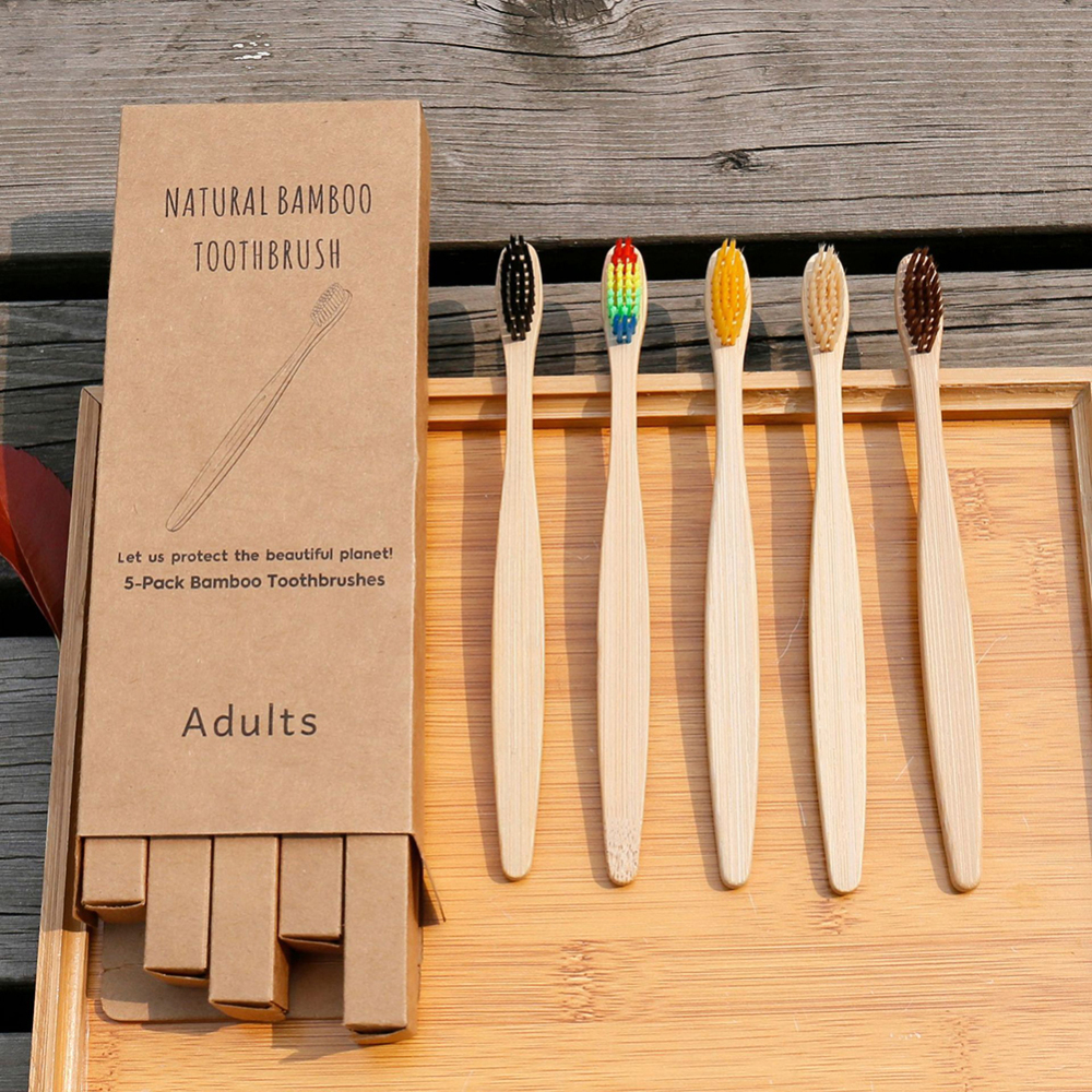 5pcs Bamboo Tooth Brushes Soft Bristles Eco Friendly Oral Care Travel Toothbrush for adults logo customized image