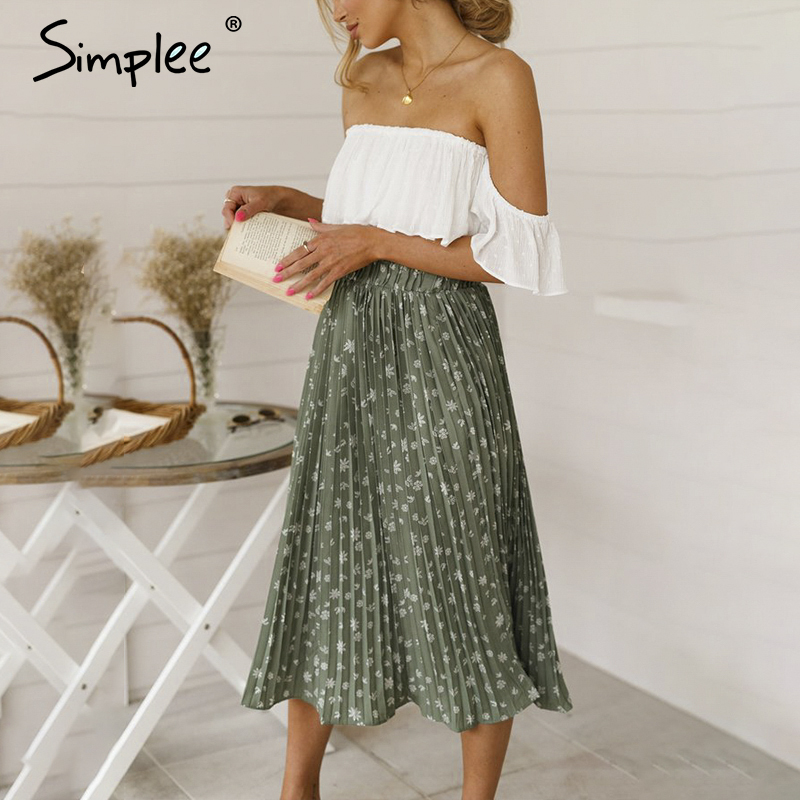 Simplee Bohemian Ruffled High Waist Chiffon Women Long Skirt Floral Print Skirt Pleated Summer Skirt Female Lining Midi Skirt