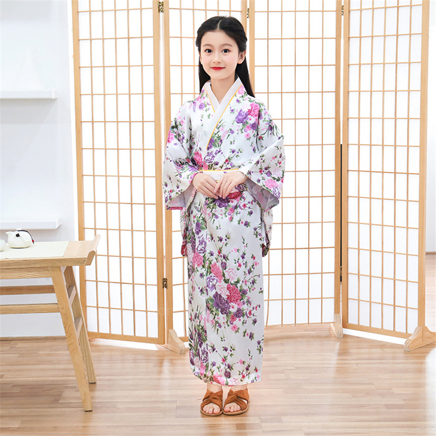 Kids Japanese Traditional Kimono Yukata Girl Casual Haori Obi Kawaii Fairy Dress Satin Floral Vintage Bathrobe Stage Dance Hanfu