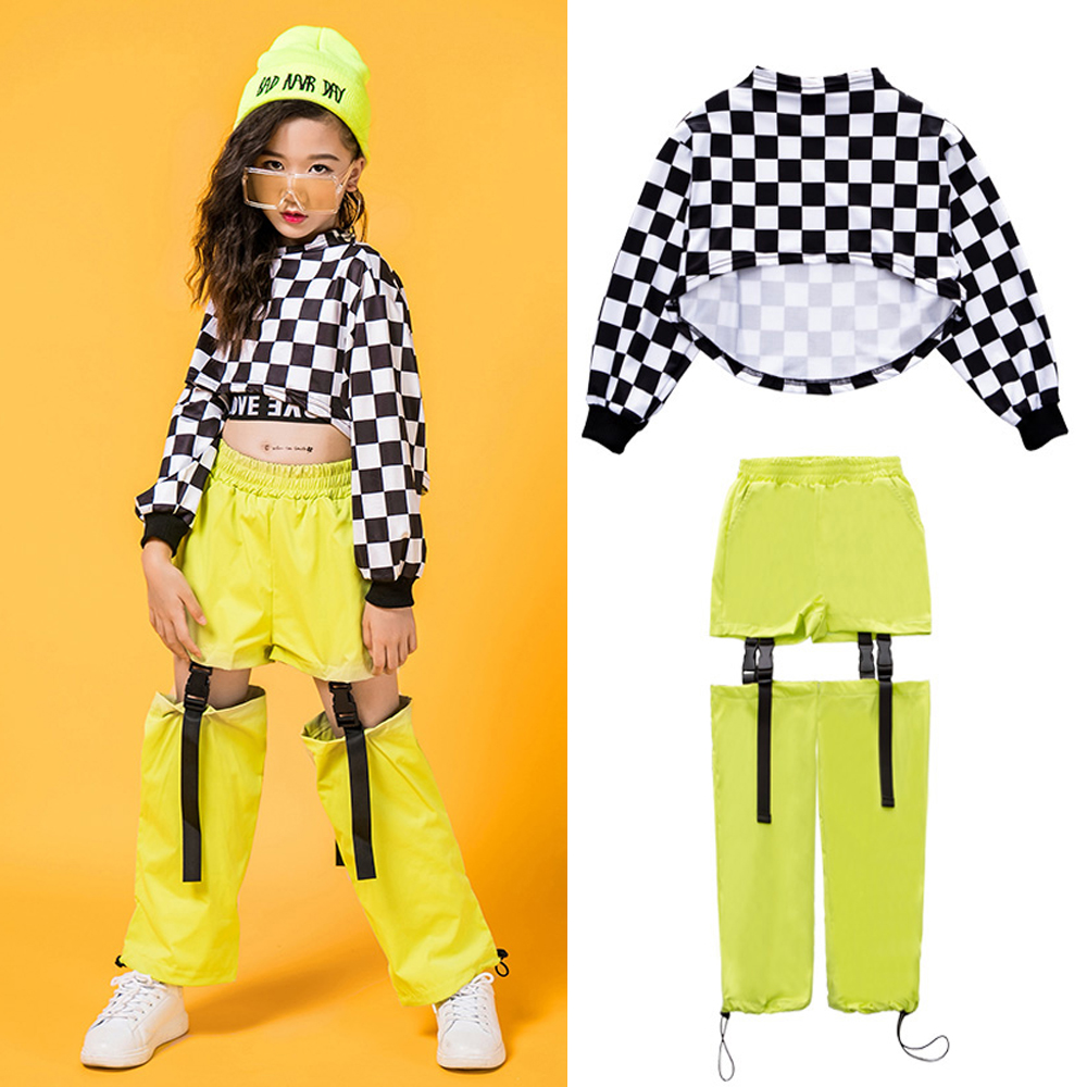 Kids Hip Hop Dancing Clothes For Girls Jazz Dance Costumes Long Sleeve Children Street Dance Clothing Stage Outfits DQS2560