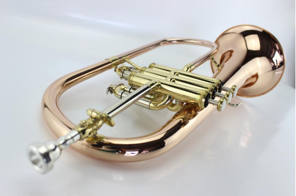 New Bb Flugelhorn Gold Phosphorus & Copper Flugelhorn Musical Instruments With Case Mouthpiece