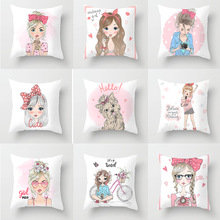 Pillow case 45 * Fashion girl series printed polyester pillowcase Square decorative