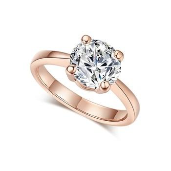 Luxury Rose Gold Women Diamond Ring for Wedding Engagement Statement Rings Rhinestone AAA White Zircon Cubic Rings Fine Jewelry