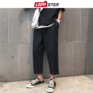 LAPPSTER Men Harajuku Wide Leg Plaid Pants 2020 Hip Hop Harem Pants Male Vintage Fashions Sweatpants Black Striped Joggers Pants
