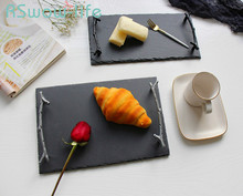 Creative Retro Twig Handle Trays Home Restaurant Western Dish Food Tray Special Service Tableware For Kitchen Storage