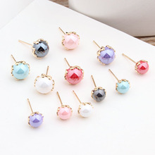 10pcs diy handmade jewelry accessories korean version of the color imitation shell pearl diy earrings