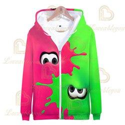 3 To 14 Years Kids Splaton Shooting Game 3D Printed Sweatshirt Hoodie Boys Girls Cartoon Jacket Coat Children Clothes