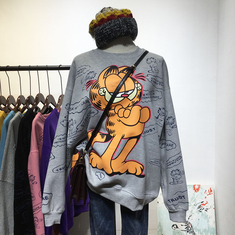 New Spring And Autumn Loose BF Style Cartoon Garfield Alphabet Sweatshirt Women's Cool Hoodie Coat Oversize Shirts Girls Tops