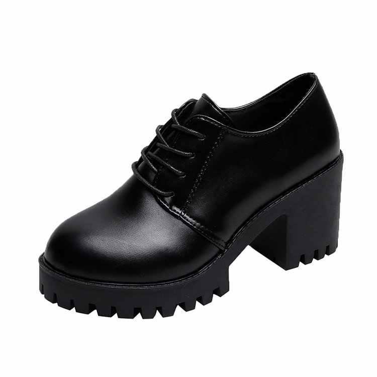 Verão outono estilo britânico dividir couro feminino salto quadrado plataforma plana sapatos mulher rendas oxford sapatos para mulher saltos 7cm