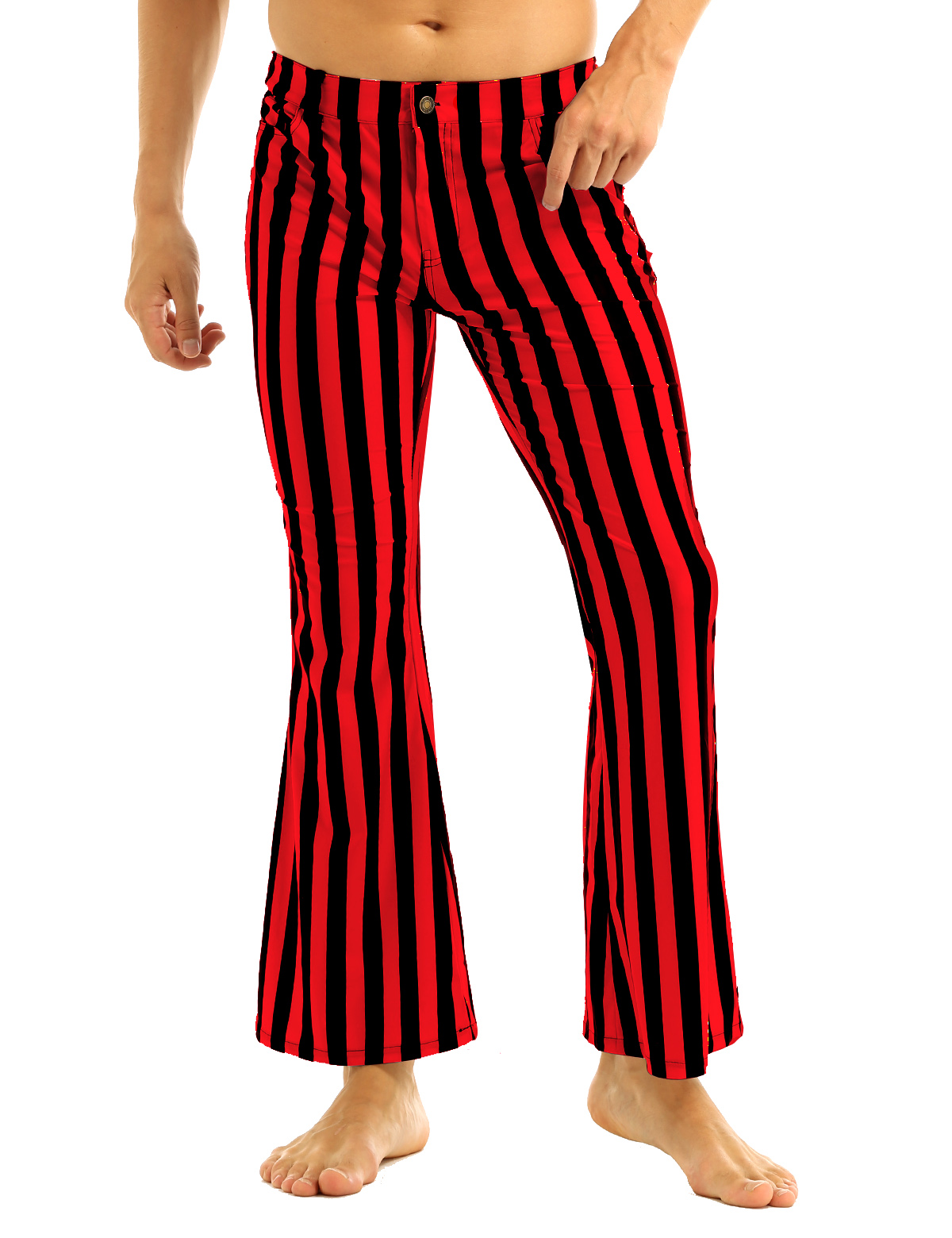 Halloween Party Costume for Men Vintage Stripe Pant Male Long Pant Stretch Bell Bottom Trousers Western Streetwear Clothes Homme 15