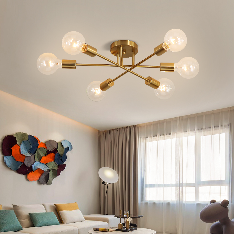Modern Sputnik Chandelier Lighting Fixture Nordic Geometric Lamp Gold Lighting Home Decor Kitchen Ceiling Lamp Livingroom Lights