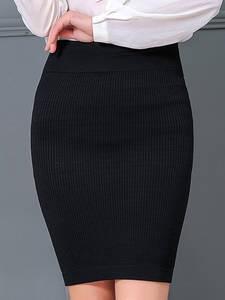 Fairyshely Office-Skirt Short Knitted Warm Sexy Black Autumn High-Waist Winter Ladies