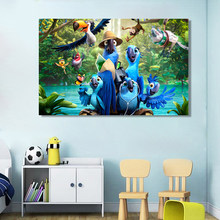 Artistic Blue Parrot Flying Birds Wood Landscape Oil Painting on Canvas Poster Print Wall Picture Kid's Room Cuadros Décor(China)
