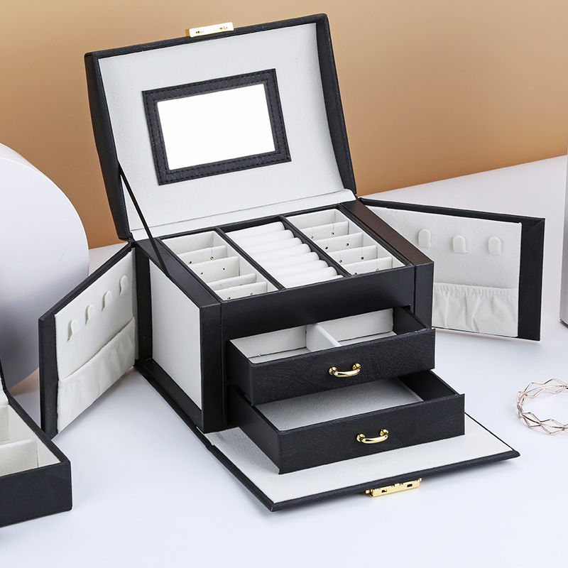 2019 luxury three-tier storage jewelry box with mirror Creative portable silk thread storage box Stud earrings ring jewelry box