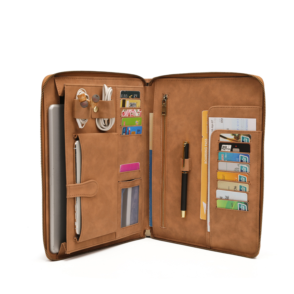 Men IPad Portfolio Case For 9.7 Inch, Professional Business Briefcase Padfolio Travel Carrying Case With Secure Zippered Closure