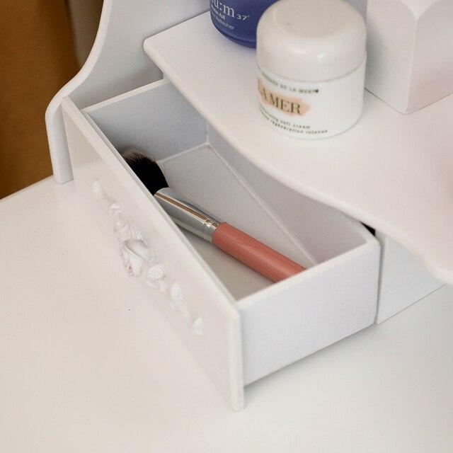 Vanity 4 Drawer Dresser White w/ Mirror 5