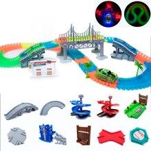 Magical Track Miraculous Glowing Race DIY Universal Accessories Ramp Turn Road Bridge Crossroads Toys For children boy