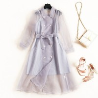2019 New Women Long Sleeve Trench Coat Spring Autumn Double Breasted Transparent Organza Long Trench Outerwear