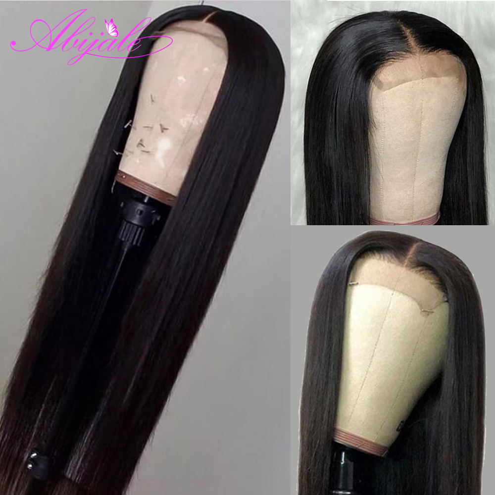 Wig 4x4 Human-Hair-Wigs Lace Closure Lace-Frontal Abijale Pre-Plucked Straight Brazilian